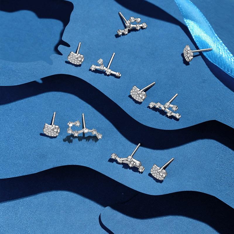 潮色绘潮色绘凯蒂猫hellokitty联名925纯银耳钉简约十二星座耳饰