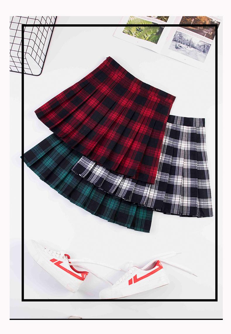 红色格子百褶裙女秋冬字裙大尺码高腰绿色短裙显瘦韩式半身裙短款详细照片