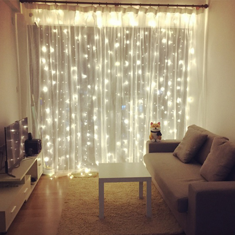 Led Curtain Lights Star Flashing String Starry Room Bedroom Decoration Network Red Waterfall