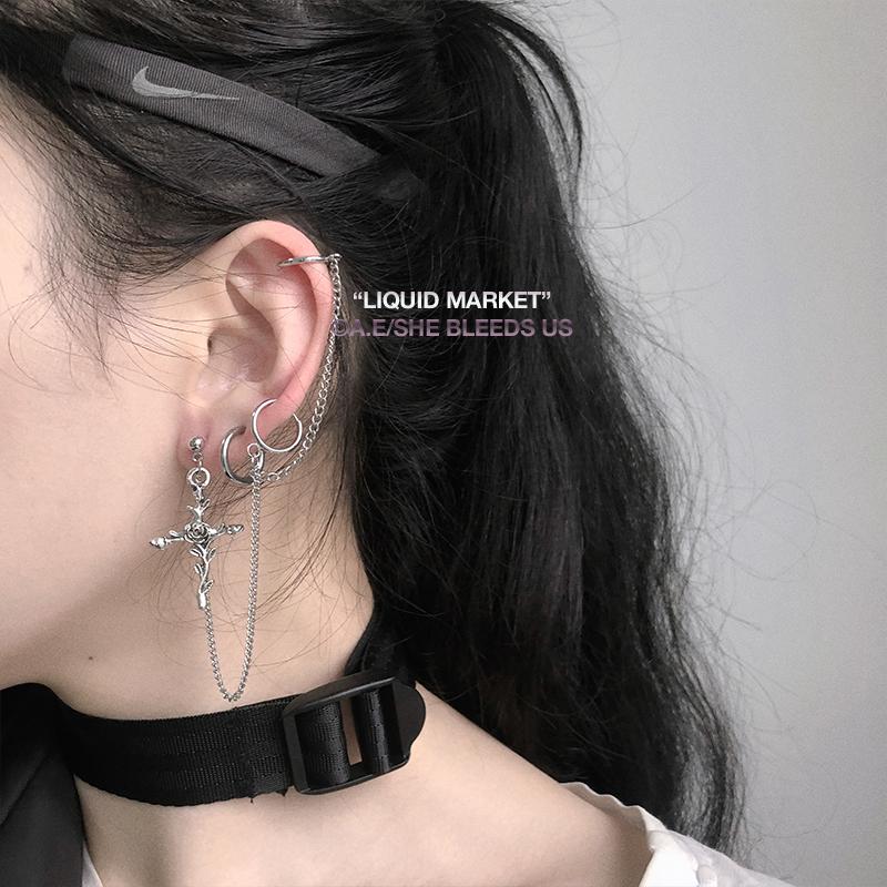 缠绕链条十字架三重荆棘v链条耳骨夹耳环耳钉ES098