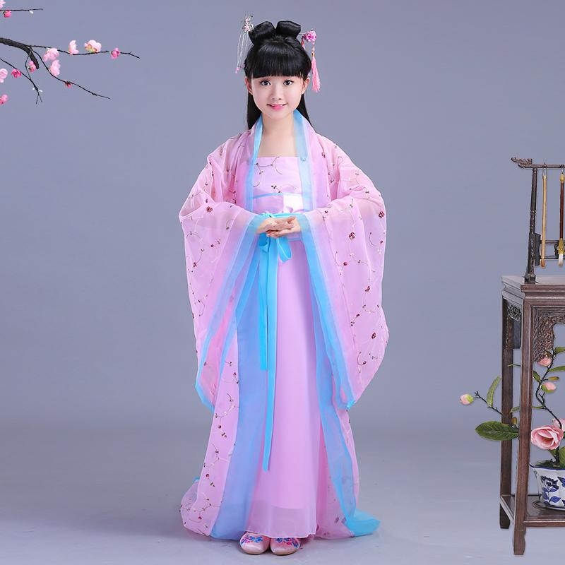 儿童古代仙女服装女童中国风汉服古筝演出小孩女孩公主古装表演夏_天猫超市优惠券