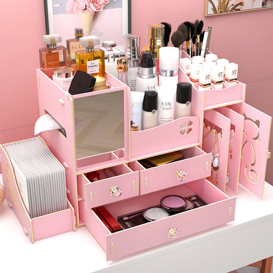 Net red wooden desktop finishing cosmetics storage box drawer with mirror lipstick skin care products vanity box rack