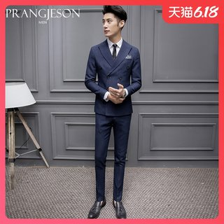 Double-breasted thin suit suit for men slim three-piece best man suit wedding dress business suit