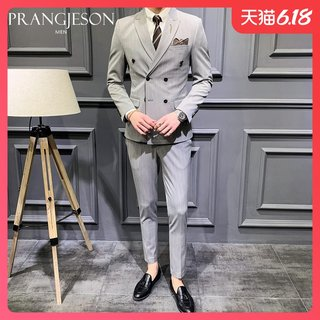 Groom's suit suit for men's wedding dress Korean version slim stripe double-breasted suit for men's suit four seasons suit