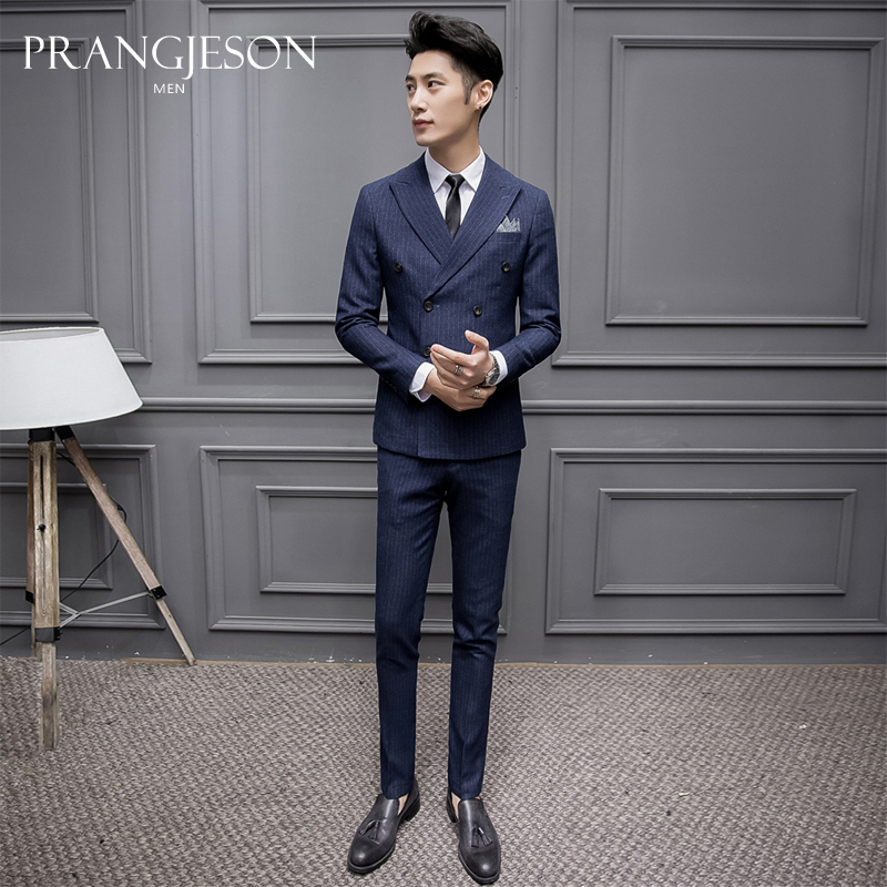 f77e350e7df Double-breasted suit men s suits slim three-piece best man group England groom  suit wedding dress business formal wear