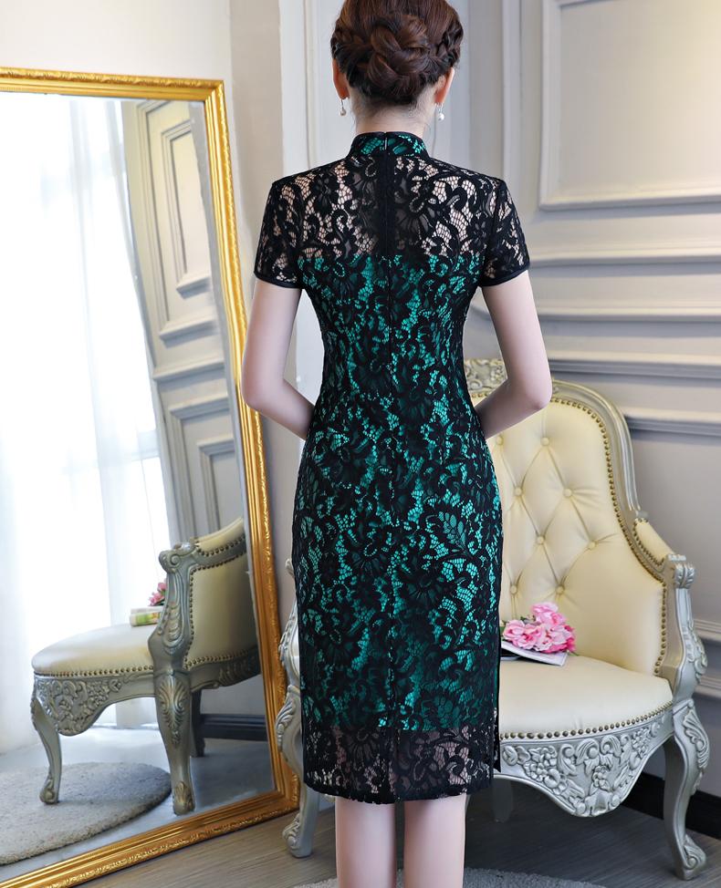 夏季短款改良蕾丝旗袍裙 - 花雕美图苑 - 花雕美图苑