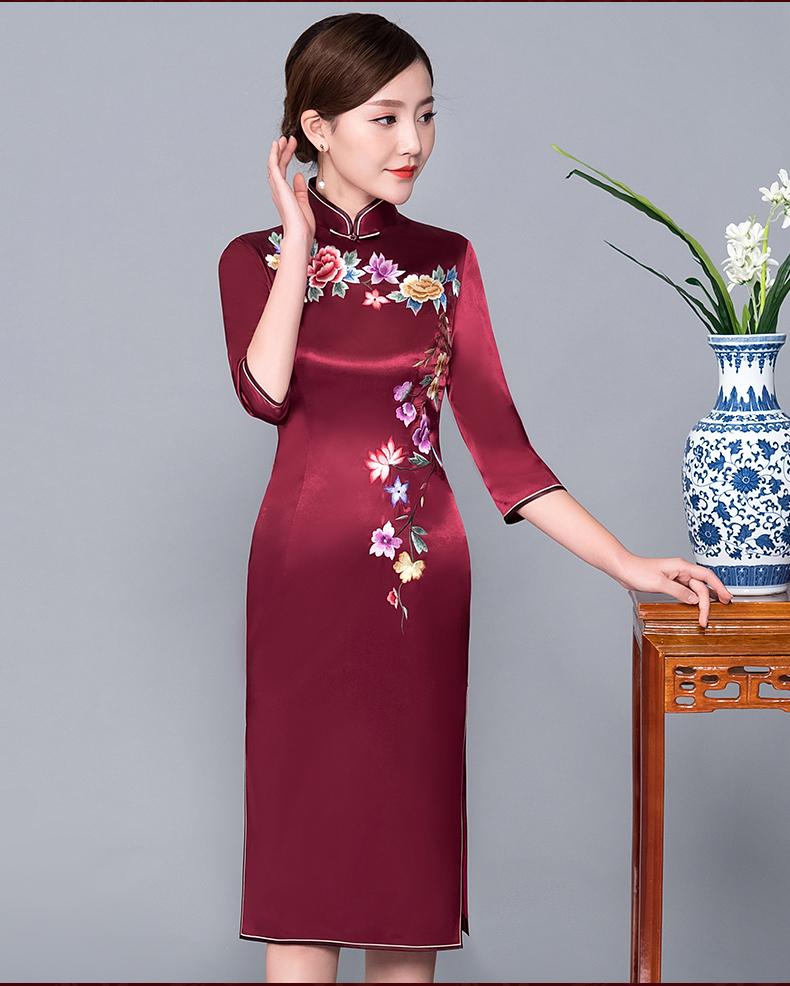 酒红色改良旗袍连衣裙 - 花雕美图苑 - 花雕美图苑
