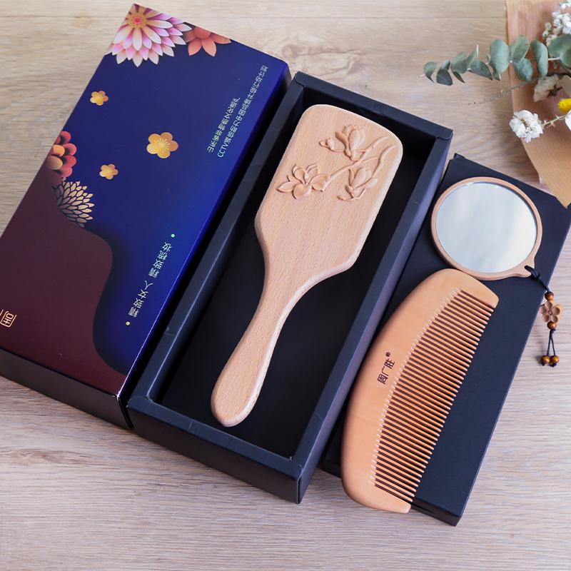 周广胜梳镜套装木梳子礼物女士按摩梳气垫梳镜梳套装送女朋友礼物