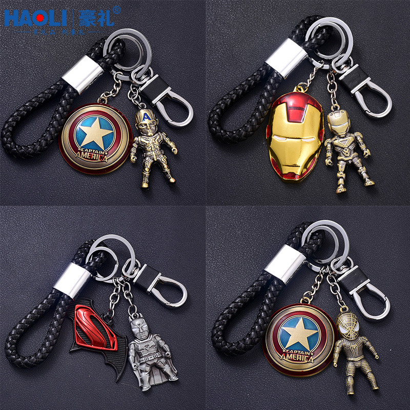 Creative anime metal keychain car key pendant steel men and women pendant braided key chain gift