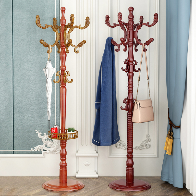 挂衣架落地卧室网红家用单杆式衣服架子挂包架简约现代实木衣帽架