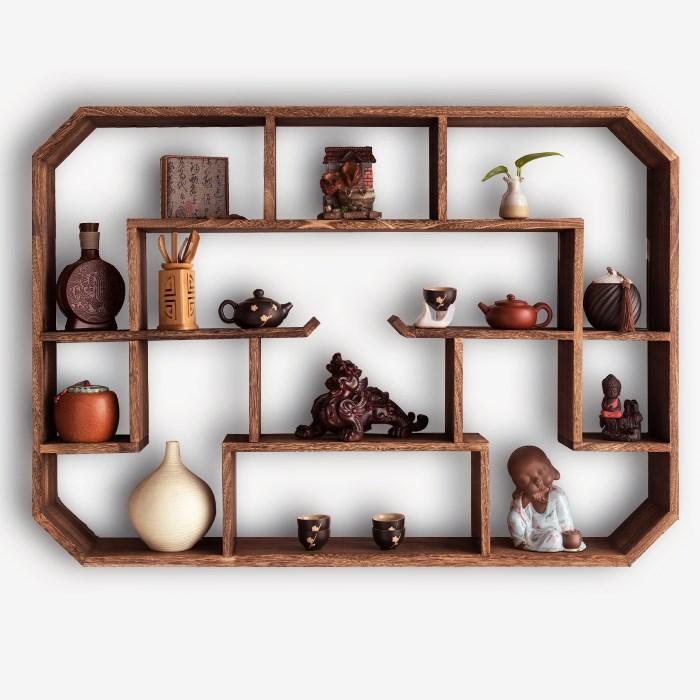 实木中式圆形鸡翅纹小博古架挂墙上多宝阁壁挂式置物架古董摆件架