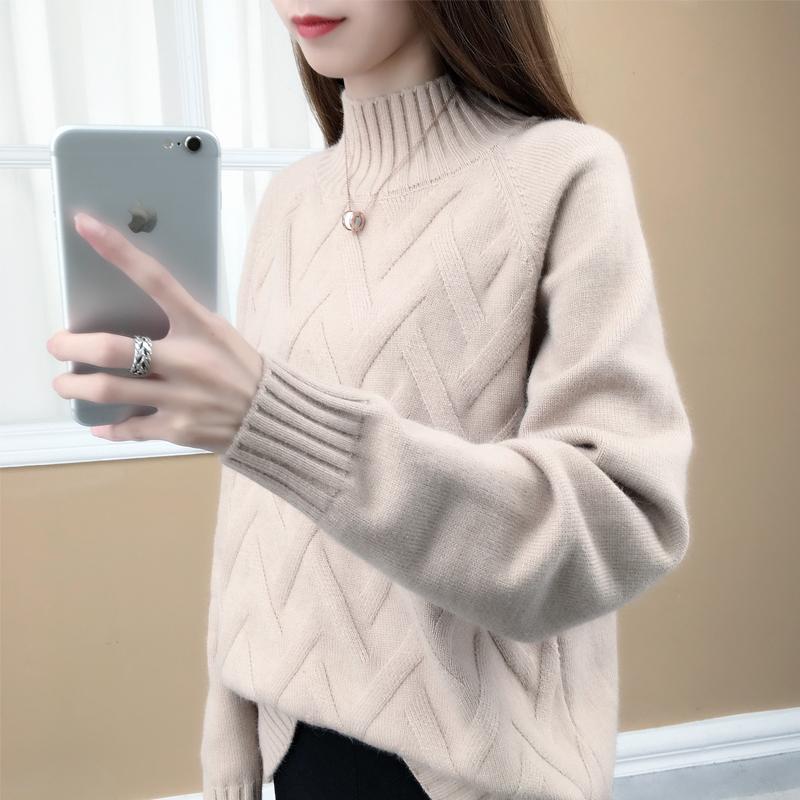 2018秋冬季新款宽松韩版圆领纯色长袖套头毛衣女针织打底衫上衣潮