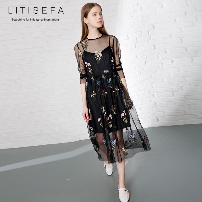 法国小众连衣裙春夏复古蕾丝中长款长袖修身两件套过膝刺绣网纱裙