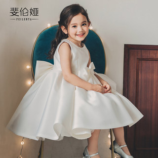 Flower girl wedding little girl wedding girl birthday dress princess dress children piano performance dress Western style white girl