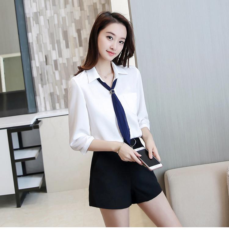 夏装2018新款ol女装韩版职业宽松雪纺衫衬衫白色短袖韩范衬衣上衣