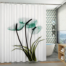 Nordic bathroom shower curtain toilet partition broken curtain bath waterproof cloth shower curtain set free punching telescopic rod water curtain