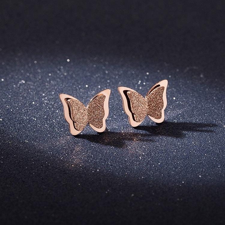 日韩镀18k玫瑰金蝴蝶耳钉女气质钛钢个性简约流苏耳环饰品耳坠_英家券