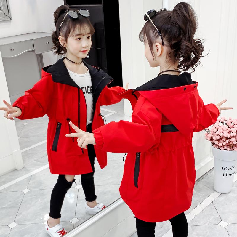 网红女童装儿童√外套秋季中长款风衣大童春秋新款女孩衣服洋气秋款