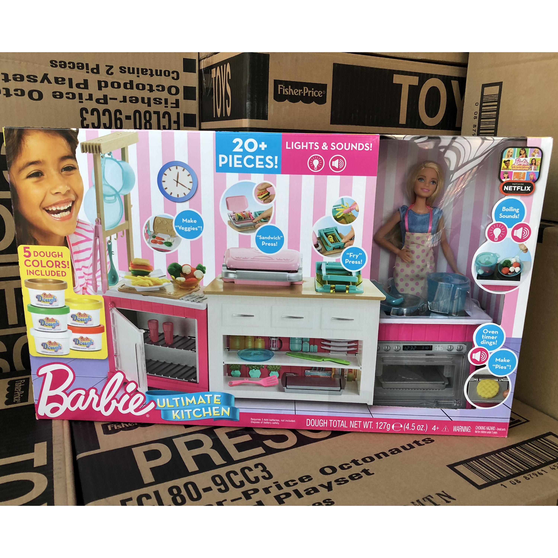 Mới Barbie Dream Kitchen Âm thanh và hộp quà nhẹ Bộ lớn Cô gái chơi Nhà Màu bùn Đồ chơi FRH73 - Búp bê / Phụ kiện