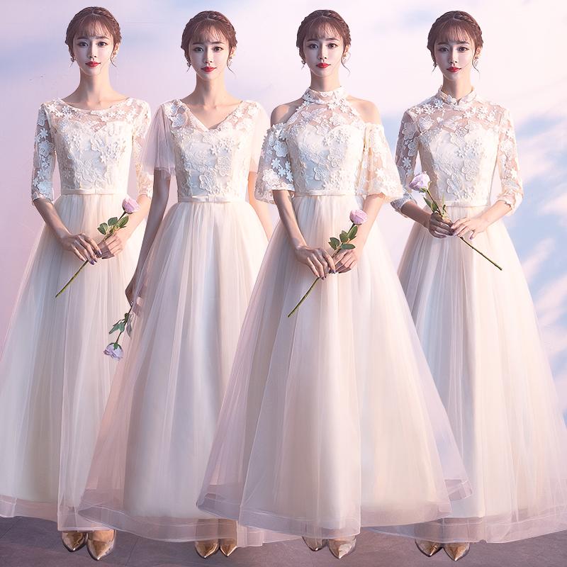 伴娘礼服女2019新款春季姐妹团伴娘服长款香槟色连衣裙宴会晚礼服