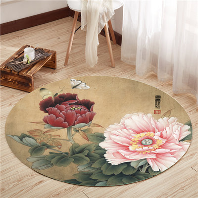 Chinese style floor mats round carpet living room bedroom yoga mat cloakroom retro Chinese style carpet non-slip washable