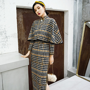 Chinese Dress Qipao for women Improved striped cheongsam women long style elegant temperament young girl Chinese dress long sleeve fashion summer