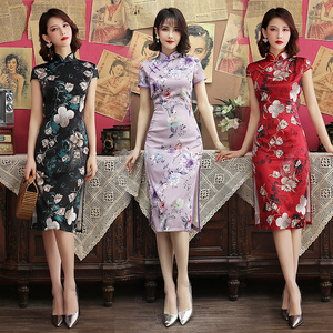 Chinese Dress Qipao for women Improved silk cheongsam medium length female body style daily young girl retro Chinese dress summer