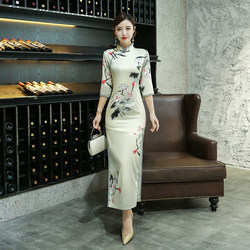 2021 spring new long-sleeved cheongsam female long elegant style young girl improved Chinese style dress