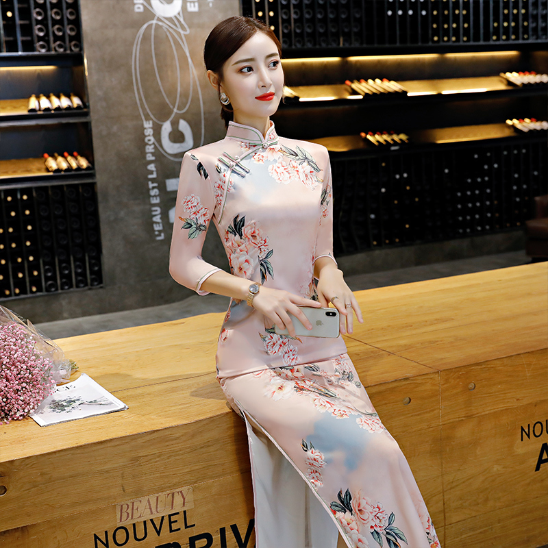 Chinese Dress Qipao for women Long cheongsam improved new women long sleeve young elegant girl Chinese style retro style dress