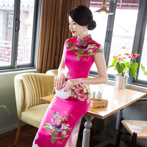 Chinese Dress Qipao for women new cheongsam long elegant daily large size slim body show thin temperament walk back to the old improved dress women