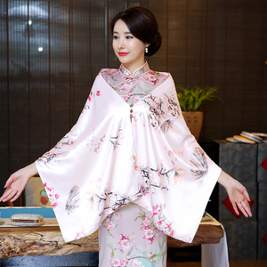 Chinese Dress Qipao for women Cheongsam shawl coat scarf with dual-purpose multi-functional sunscreen women silk scarves and square scarves in spring and summer