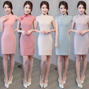 Chinese Dress Qipao for women Red cheongsam short style new slim fit and improved young Chinese girl student dress female