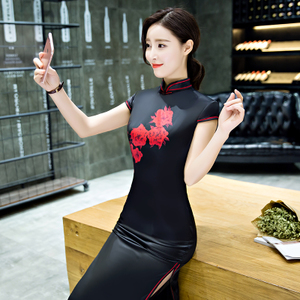 Chinese Dress Qipao for women new black cheongsam long Style Sexy slit daily large retro show dress