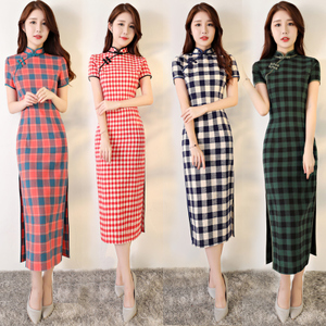Chinese Dress Qipao for women Girl Plaid cheongsam long self-cultivation literature and art Republic of China style improved dress