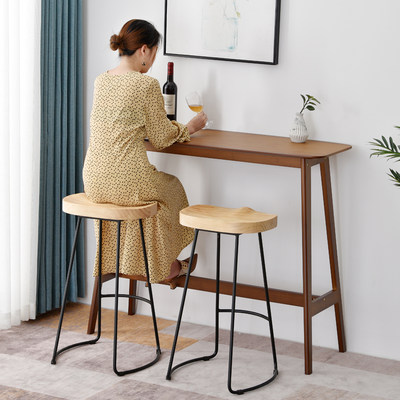 Table table solid wood high table household bar round table creative simple bar combination reliable wall long bar bar