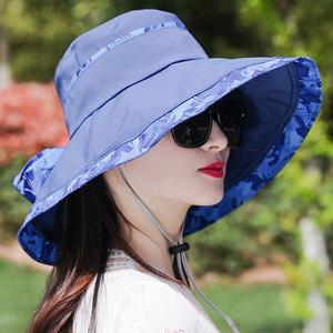 帽子女夏大沿遮阳帽遮脸时尚百搭防紫外线折叠渔夫凉帽防晒太阳帽