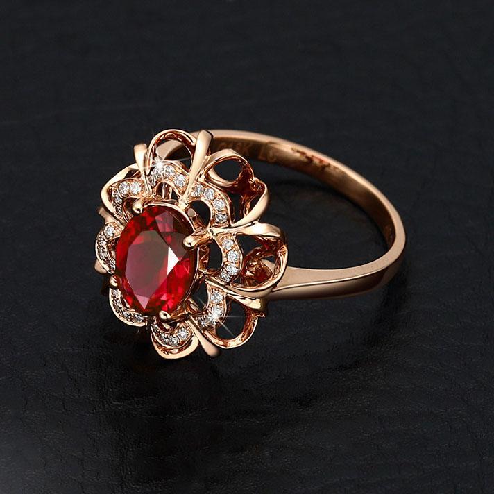 18k из розового золота мозаика цвет руби звезда женские кольца высококачественный обшивка золото серия аксессуары