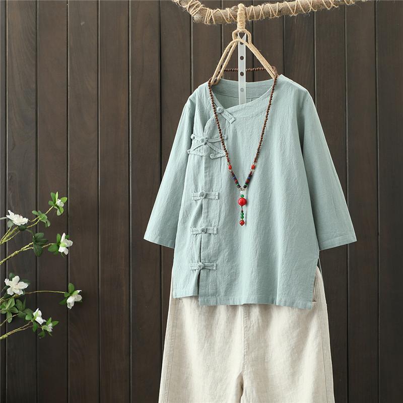 Văn học và nghệ thuật retro trung gian tay chéo chéo áo bông cotton mùa hè áo thun nữ phong cách Trung Quốc lanh Dịch vụ trà Zen áo sơ mi Trung Quốc - Áo sơ mi dài tay