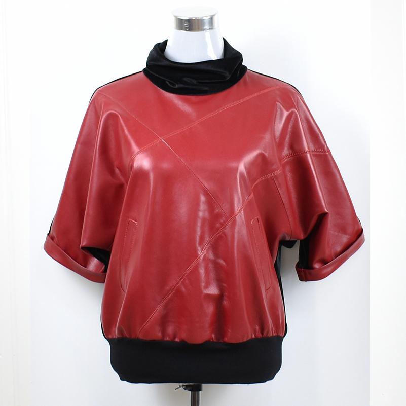 Áo khoác da và nhung nhung tay áo bằng da của phụ nữ 2020 mùa xuân cọc cổ áo len da cừu áo thun - Quần áo da