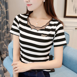 Black and white striped T-shirt for women with short sleeves and pure cotton, the new South Korean version for summer slimming mesh patchwork blouse and bottom 2020