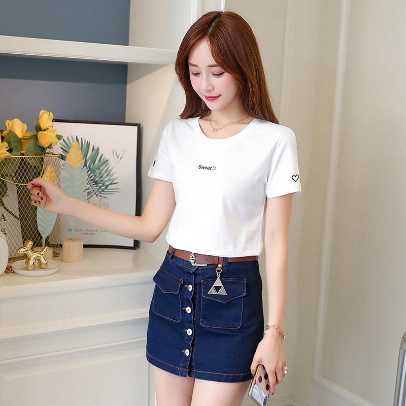 ins上衣T恤衫女刺绣纯棉白色修身2020夏季新款百搭体恤网红短袖潮