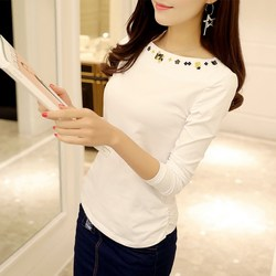 Cotton T-shirt with one-character collar, new white slim long-sleeve embroidered blouse for women in autumn 2020