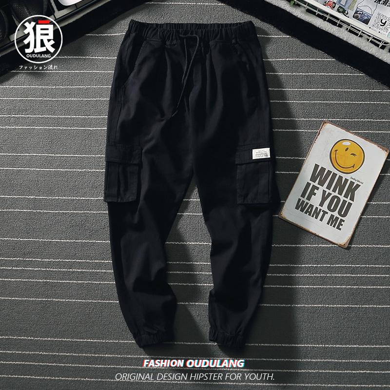 2019潮夏季ins潮牌工装裤男直筒宽松v潮流九分韩版潮流男百搭裤子
