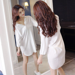 Shirt pajamas women summer short-sleeved cotton silk loose sexy white large size sexy nightdress cardigan shirt can be worn outside
