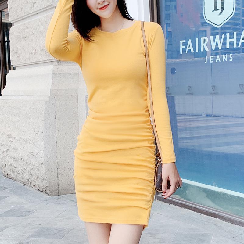 连衣裙修身时尚长袖显瘦中长款气质秋季女韩版包臀收腰打底打底裙