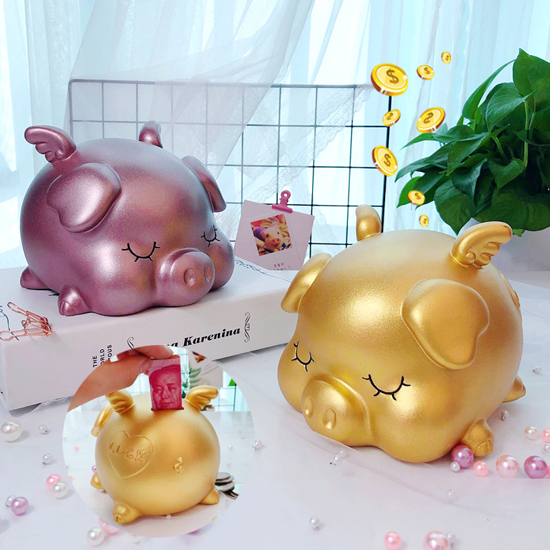 Golden pig piggy bank children's net red money tank 365 days saving box creative simple modern boys and girls saving tank.
