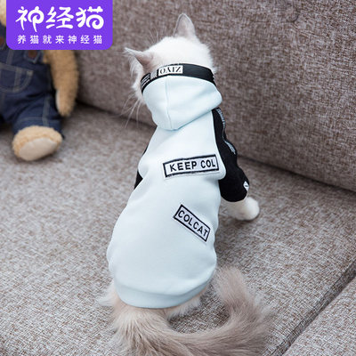 Net red tide brand funny cat clothes autumn and winter clothes thin section small kittens British short blue cat cute sweater pet clothes