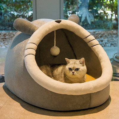 Cat nest four seasons universal cat semi-closed house villa winter warm removable and washed dog bed pet supplies