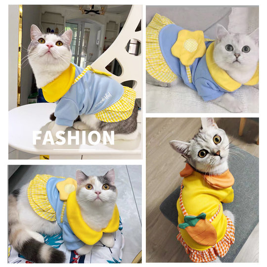 Cat clothes, small milk, cat, pet, anti-hair fall, net red, young cats, dogs, autumn and winter clothes, cute and short princess dress
