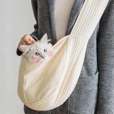 Cat bag out portable bag pet backpack canvas single shoulder out of the door portable cat bag dog backpack pet supplies